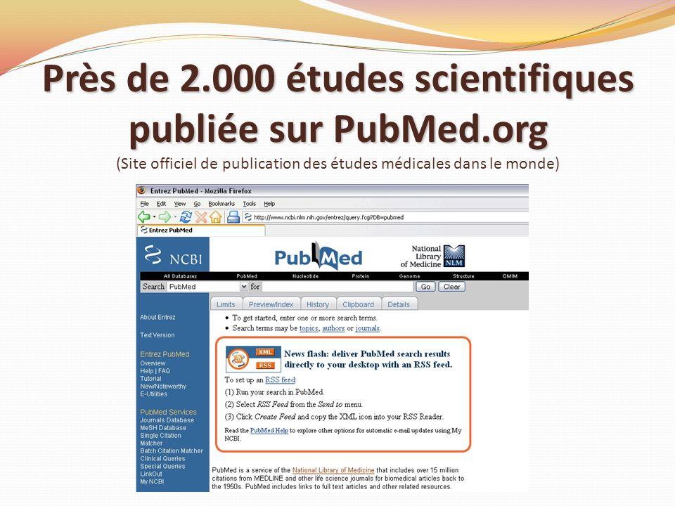 Près de 2. 000 études scientifiques publiée sur PubMed