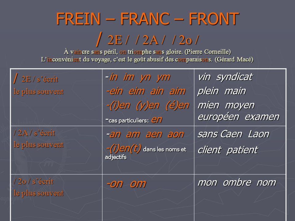 FREIN – FRANC – FRONT / 2E / / 2A / / 2o / À vaincre sans péril, on triomphe sans gloire. (Pierre Corneille) L'inconvénient du voyage, c'est le goût abusif des comparaisons. (Gérard Macé)