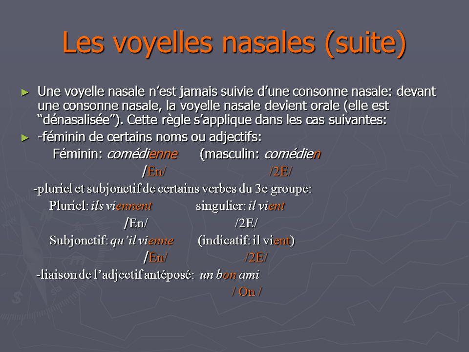 Les voyelles nasales (suite)