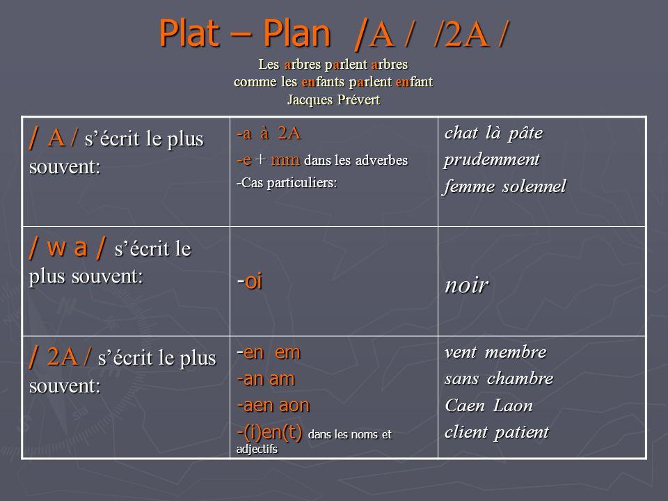 Plat – Plan /A / /2A / Les arbres parlent arbres comme les enfants parlent enfant Jacques Prévert