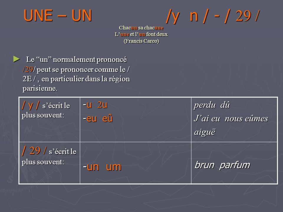 UNE – UN /y n / - / 29 / Chacun sa chacune L'une et l'un font deux (Francis Carco)