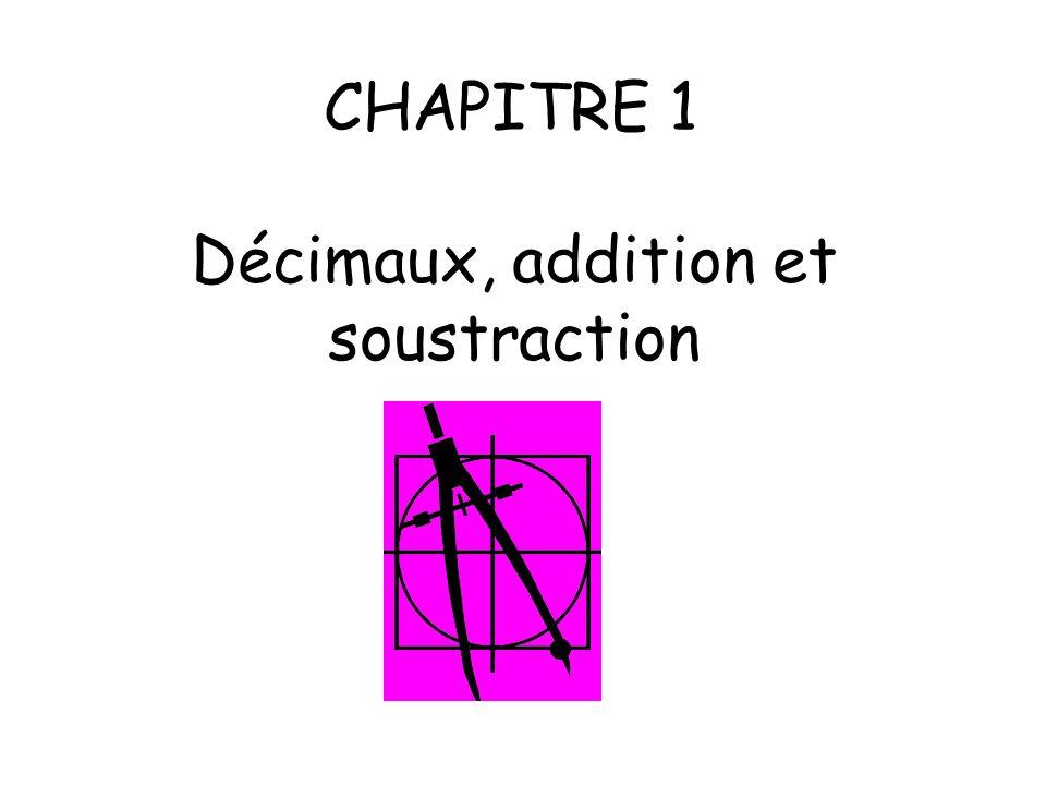 CHAPITRE 1 Décimaux, addition et soustraction