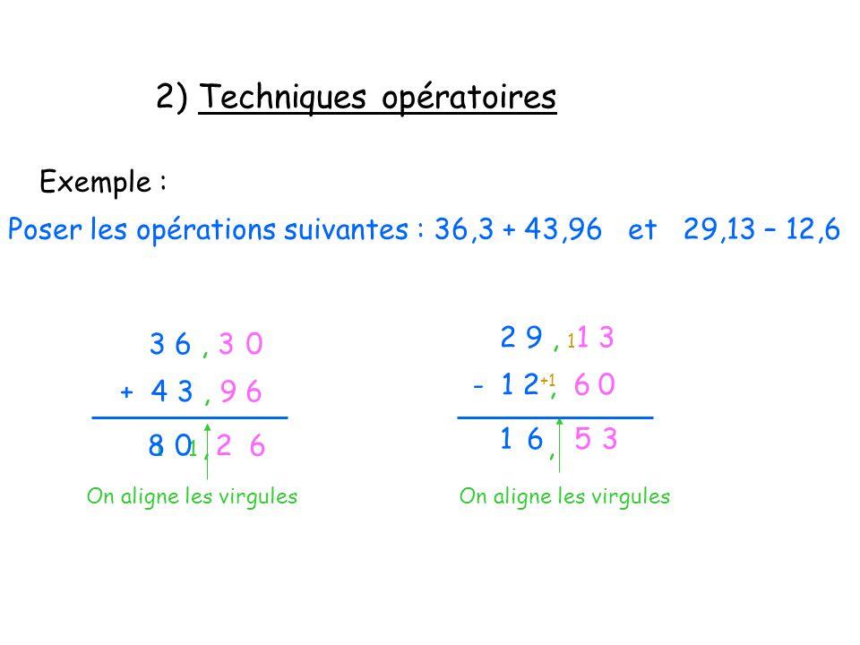 2) Techniques opératoires