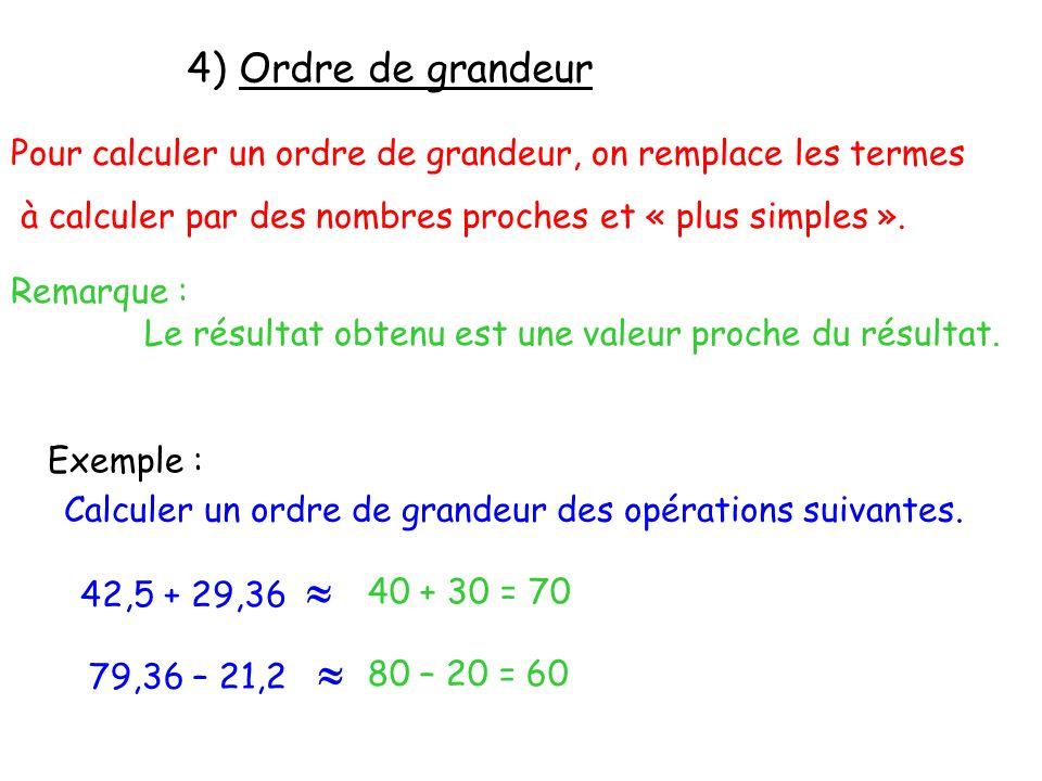 4) Ordre de grandeur Pour calculer un ordre de grandeur, on remplace les termes. à calculer par des nombres proches et « plus simples ».