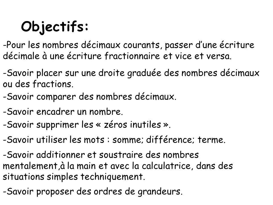 Objectifs: Pour les nombres décimaux courants, passer d'une écriture