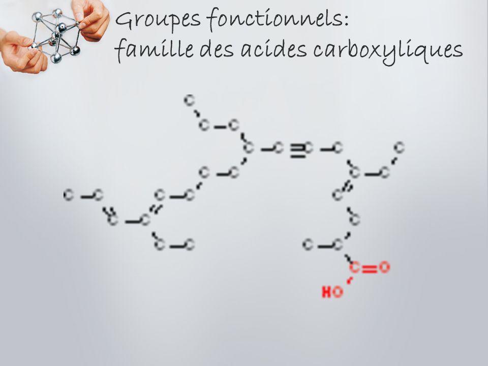 Groupes fonctionnels: famille des acides carboxyliques