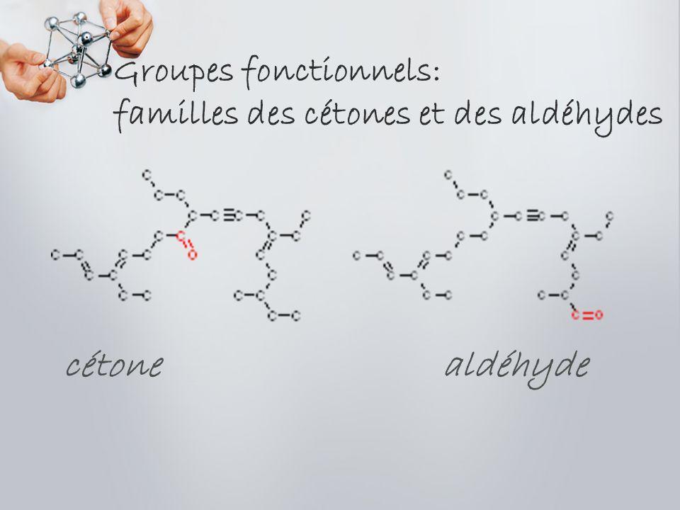 Groupes fonctionnels: familles des cétones et des aldéhydes