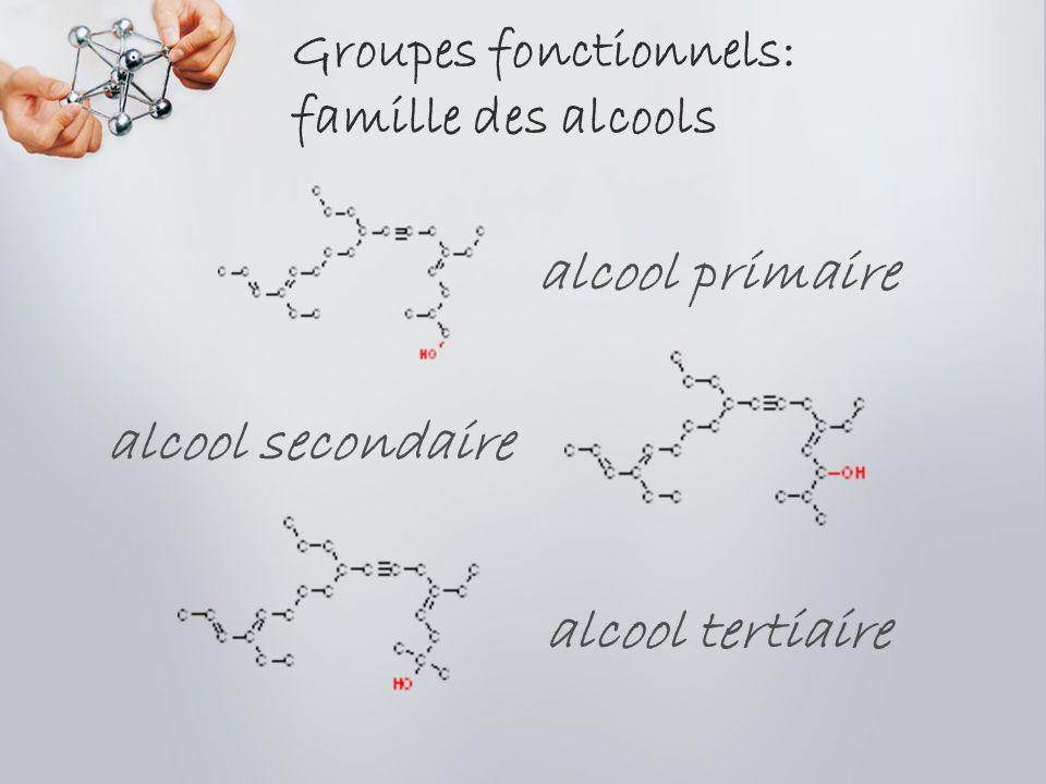 Groupes fonctionnels: famille des alcools