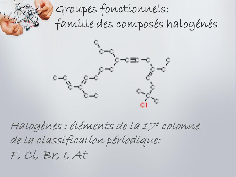 Groupes fonctionnels: famille des composés halogénés