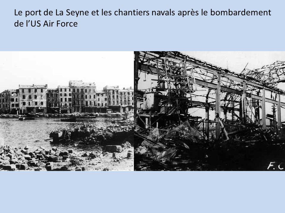 Le port de La Seyne et les chantiers navals après le bombardement de l'US Air Force