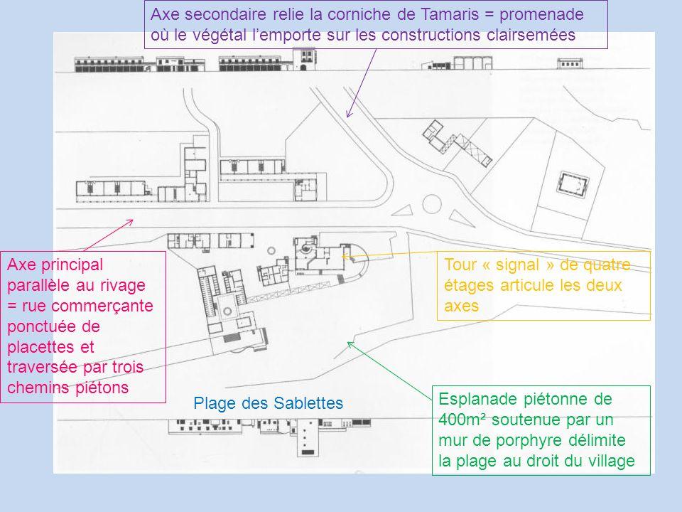 Axe secondaire relie la corniche de Tamaris = promenade où le végétal l'emporte sur les constructions clairsemées