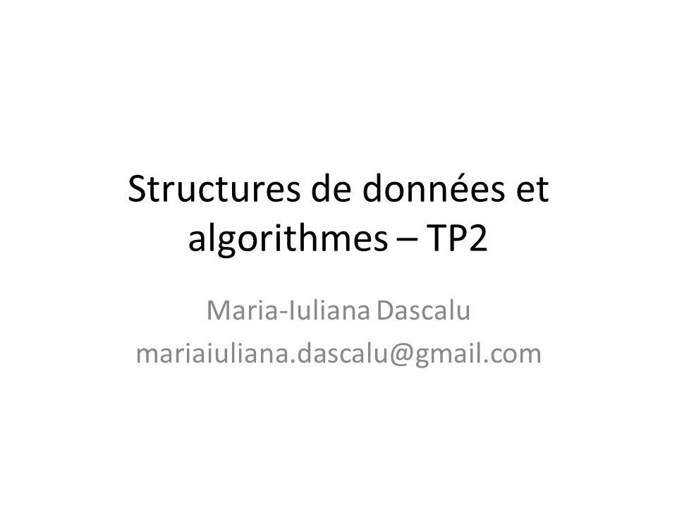 Structures de données et algorithmes – TP2