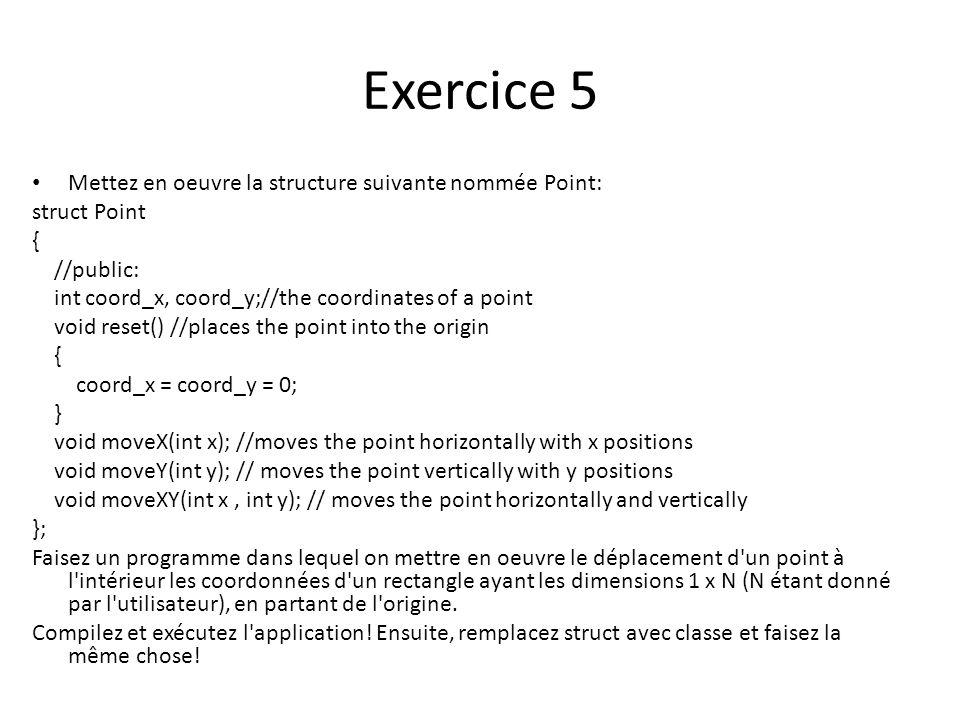 Exercice 5 Mettez en oeuvre la structure suivante nommée Point: