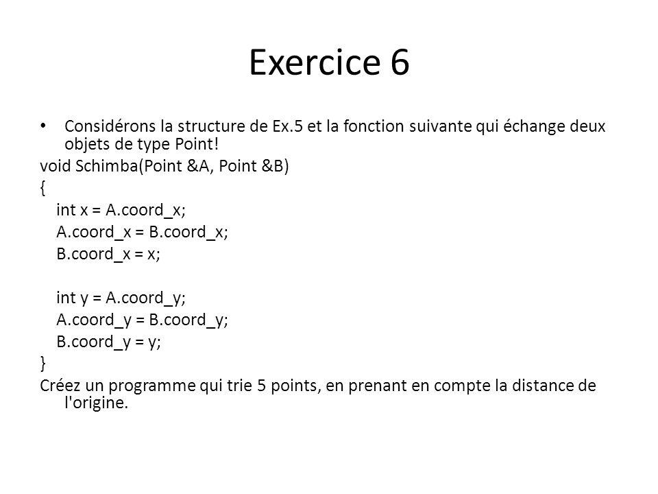 Exercice 6 Considérons la structure de Ex.5 et la fonction suivante qui échange deux objets de type Point!