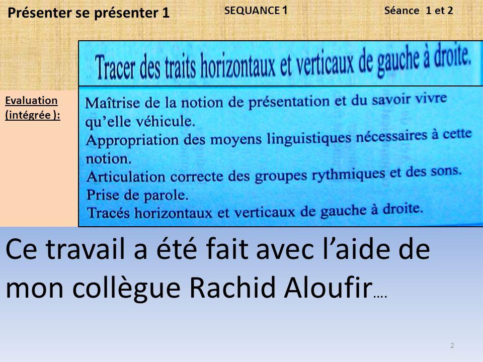 Ce travail a été fait avec l'aide de mon collègue Rachid Aloufir….