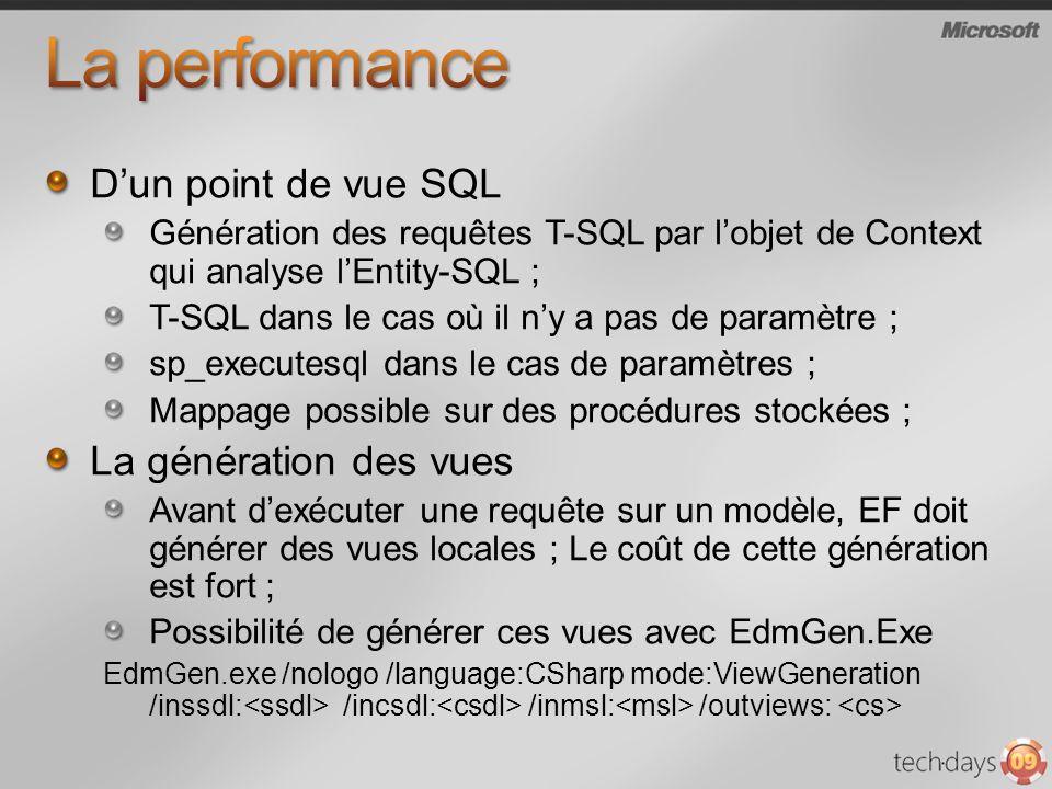 La performance D'un point de vue SQL La génération des vues