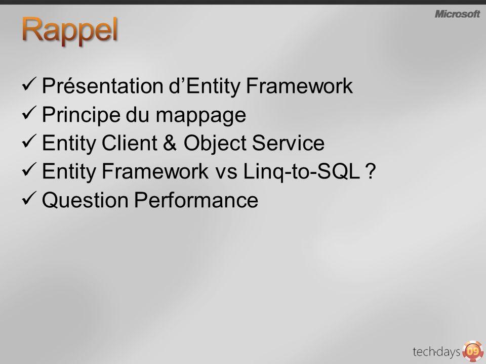 Rappel Présentation d'Entity Framework Principe du mappage
