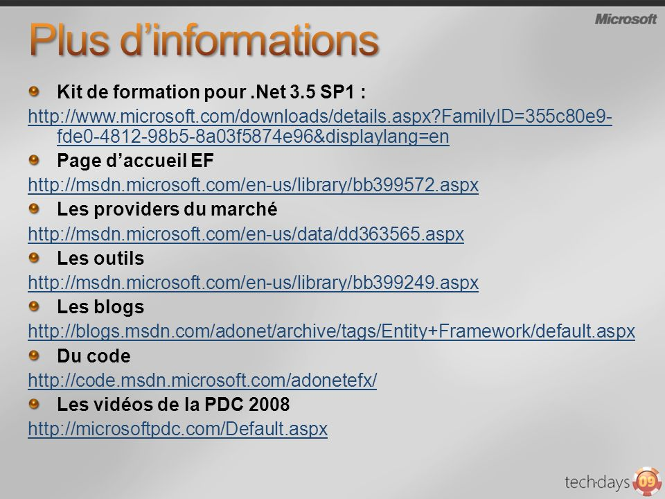 Plus d'informations Kit de formation pour .Net 3.5 SP1 :