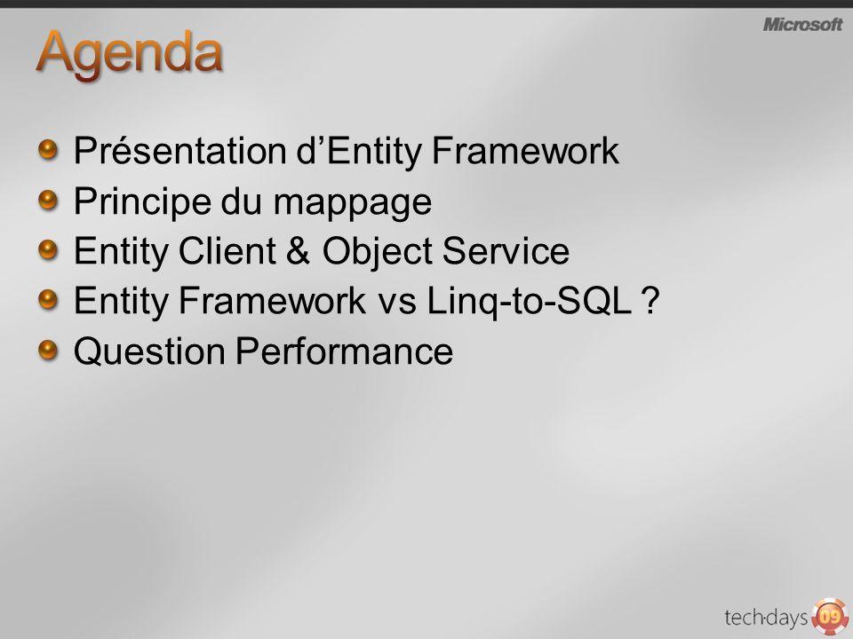 Agenda Présentation d'Entity Framework Principe du mappage