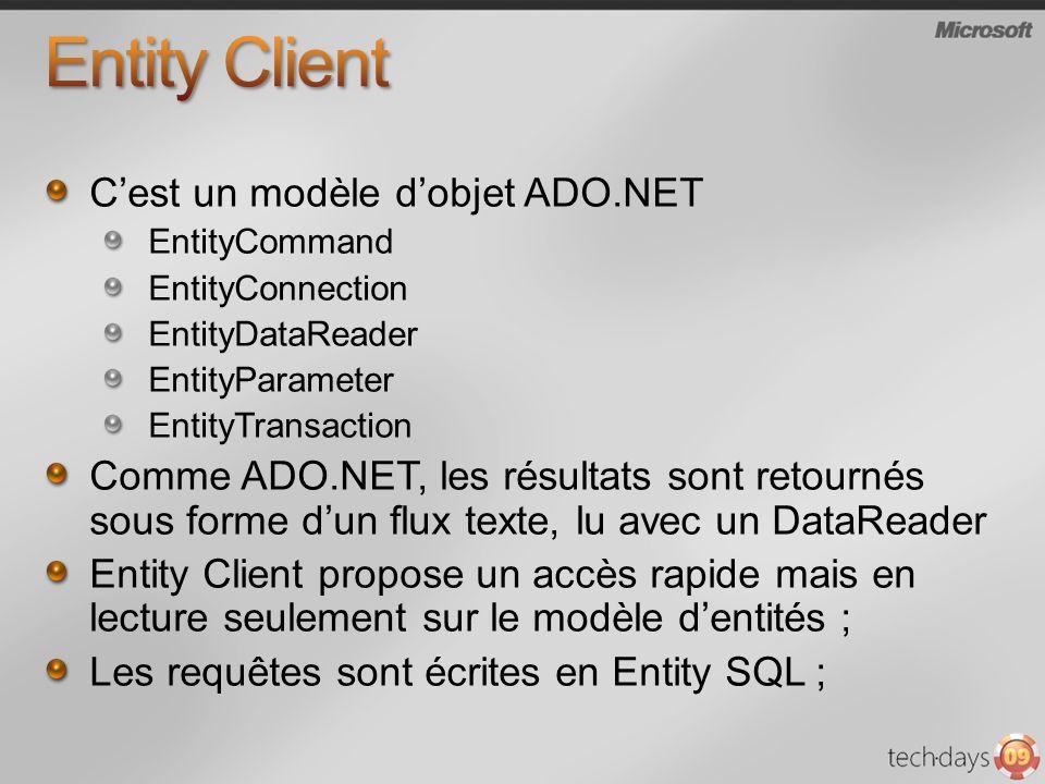 Entity Client C'est un modèle d'objet ADO.NET