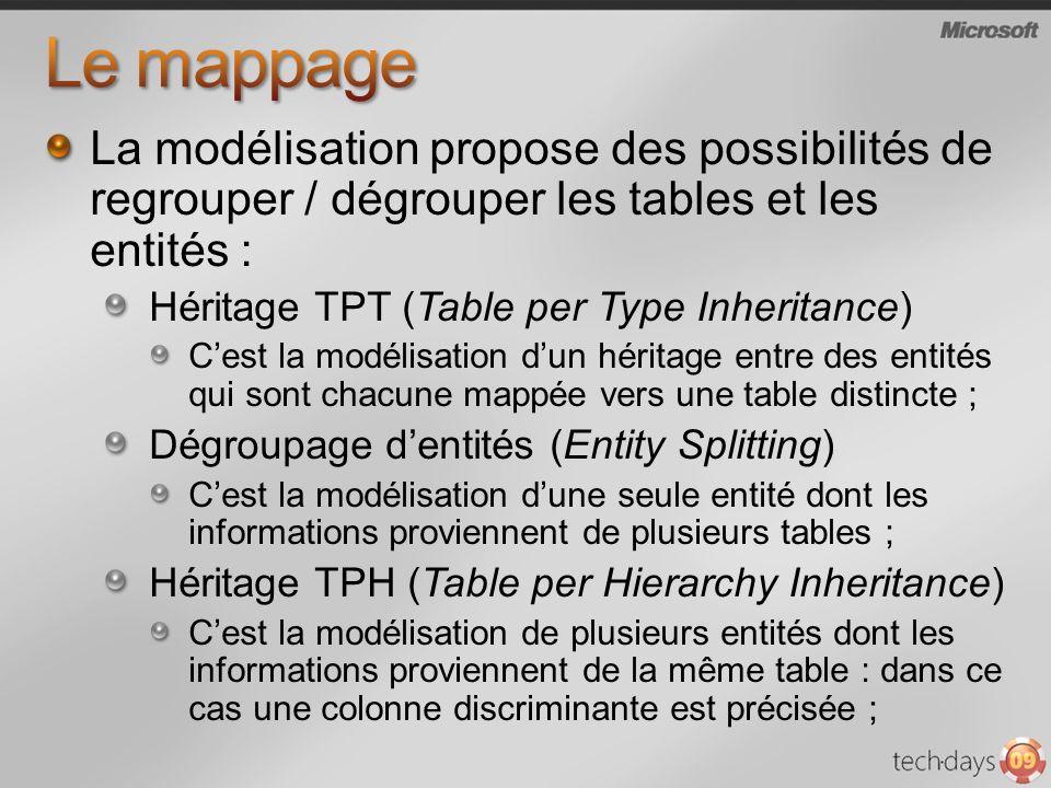 Le mappage La modélisation propose des possibilités de regrouper / dégrouper les tables et les entités :