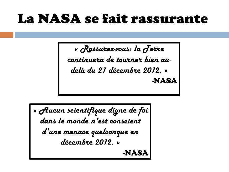 La NASA se fait rassurante