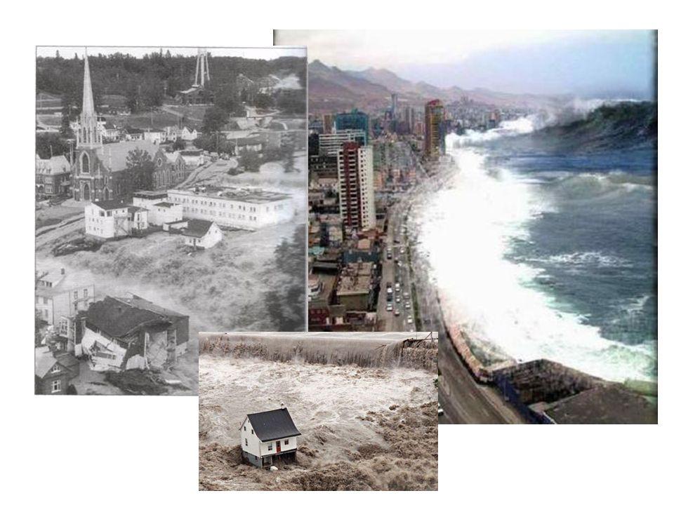 Image 4 (gauche): déluge au Saguenay en 1996, image 5 (centre): déluge au Saguenay, image 6 (droite): tsunami au Chili en 2010.