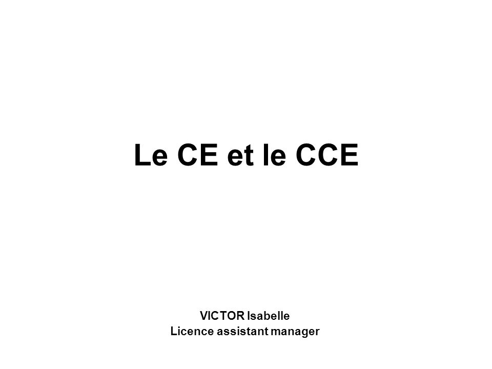 VICTOR Isabelle Licence assistant manager