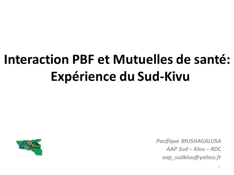 Interaction PBF et Mutuelles de santé: Expérience du Sud-Kivu