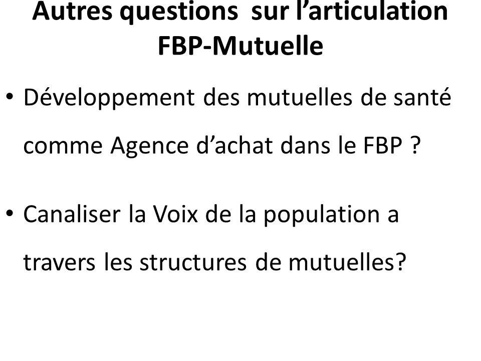 Autres questions sur l'articulation FBP-Mutuelle