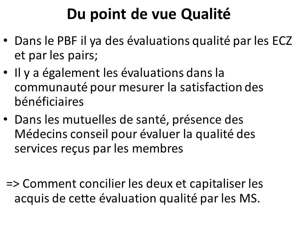 Du point de vue Qualité Dans le PBF il ya des évaluations qualité par les ECZ et par les pairs;
