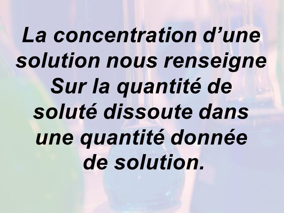 La concentration d'une solution nous renseigne