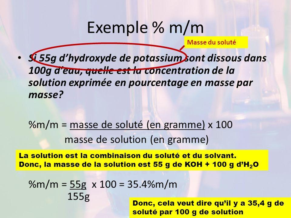Exemple % m/m Masse du soluté.