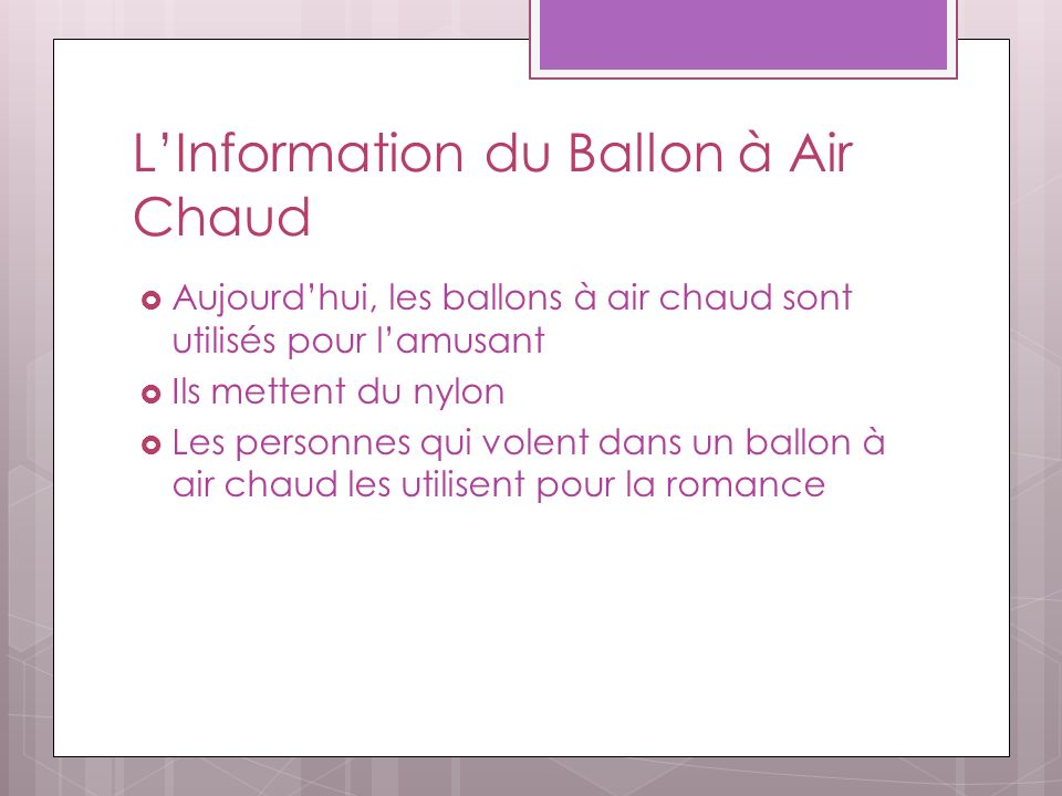 L'Information du Ballon à Air Chaud