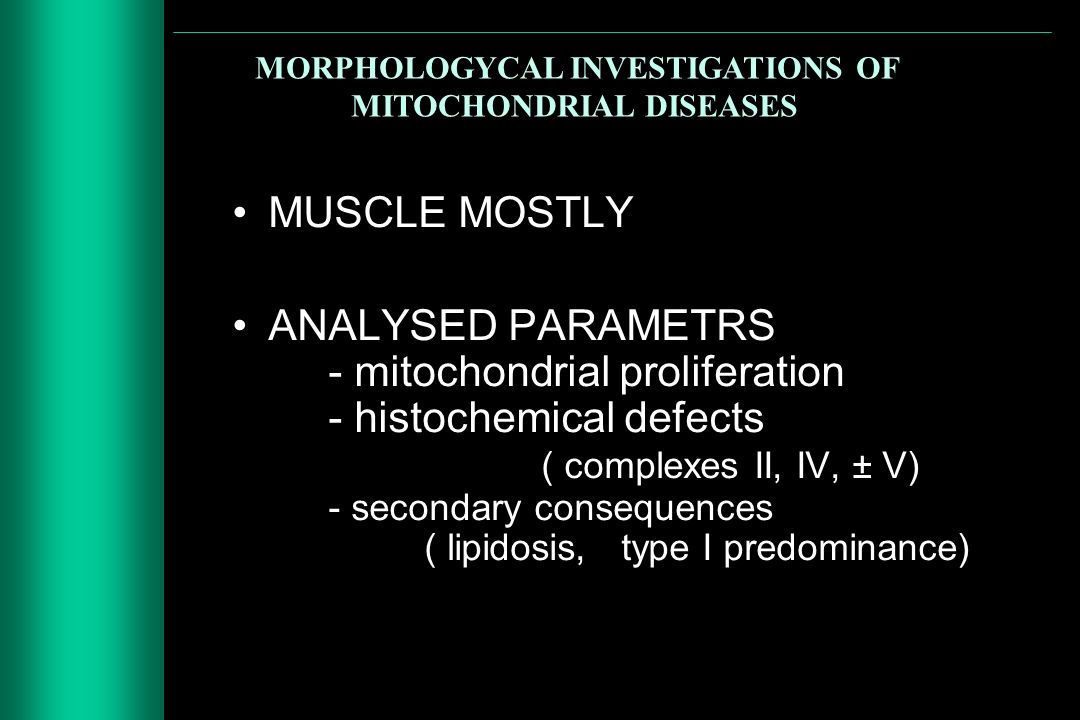 MORPHOLOGYCAL INVESTIGATIONS OF MITOCHONDRIAL DISEASES