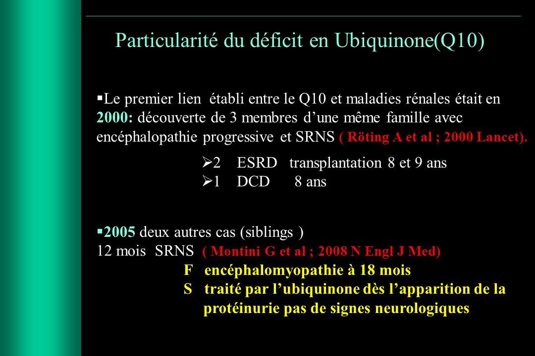 Particularité du déficit en Ubiquinone(Q10)
