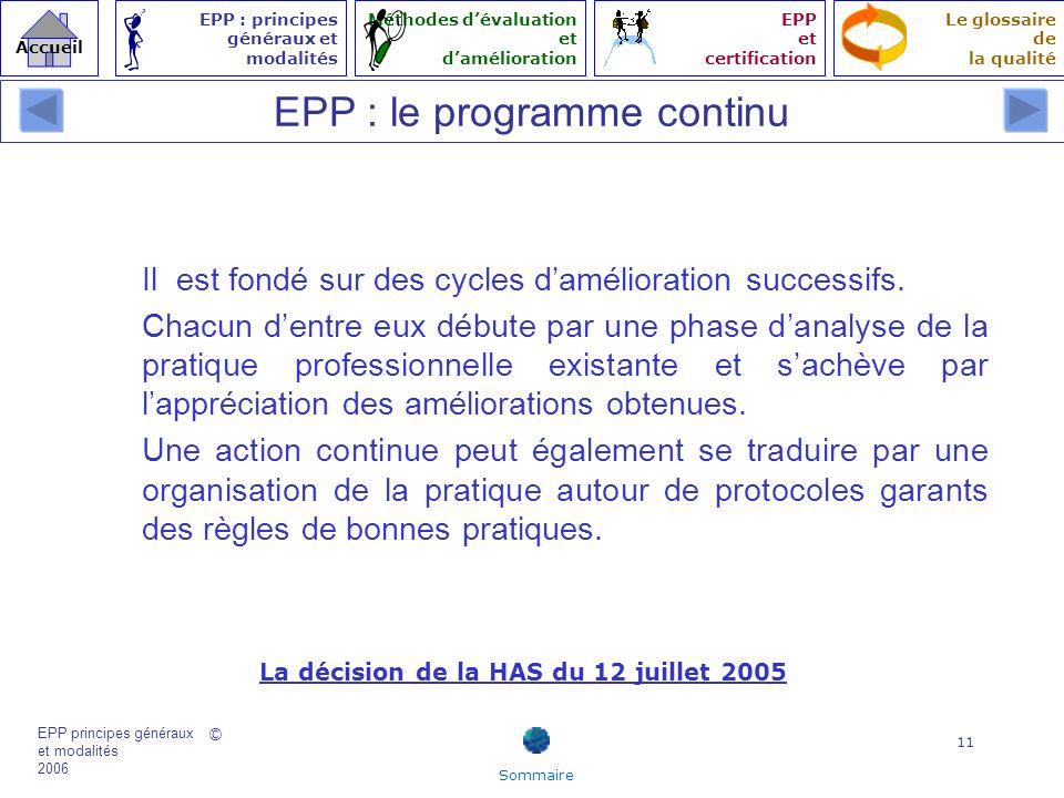 EPP : le programme continu