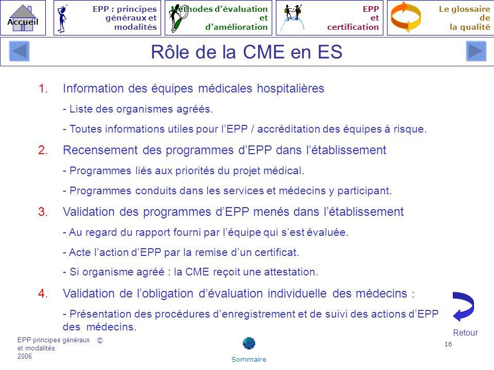 Rôle de la CME en ES Information des équipes médicales hospitalières