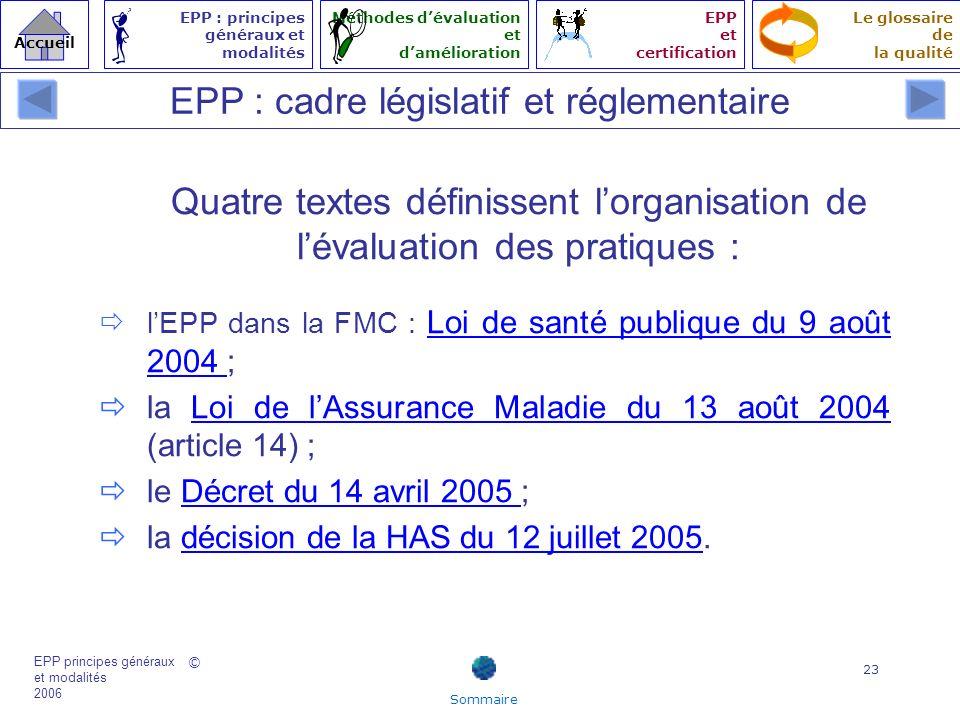 EPP : cadre législatif et réglementaire