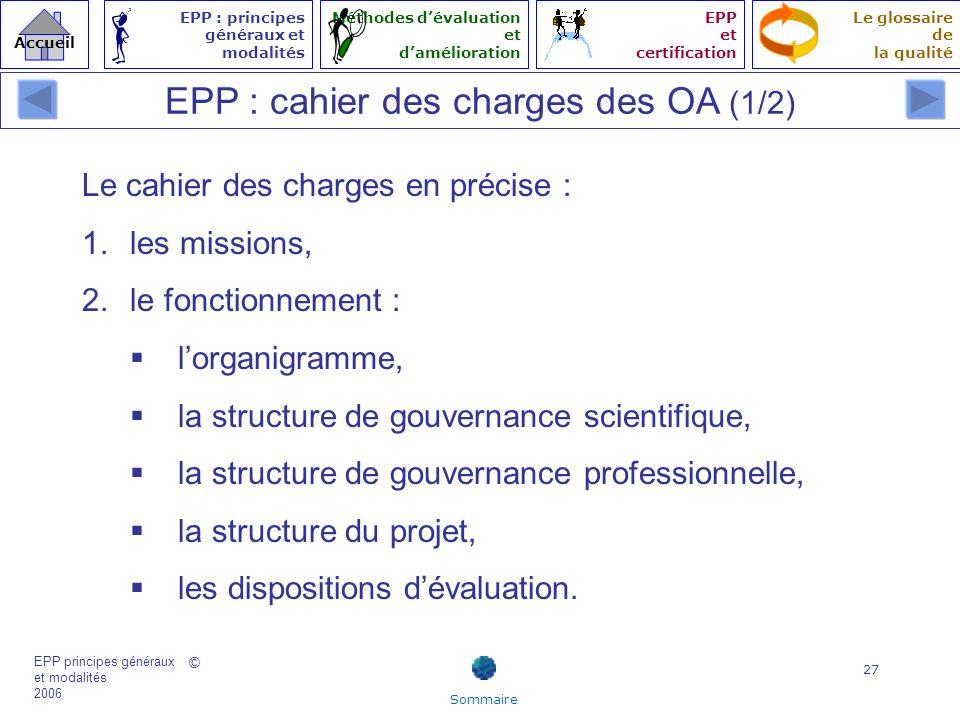 EPP : cahier des charges des OA (1/2)