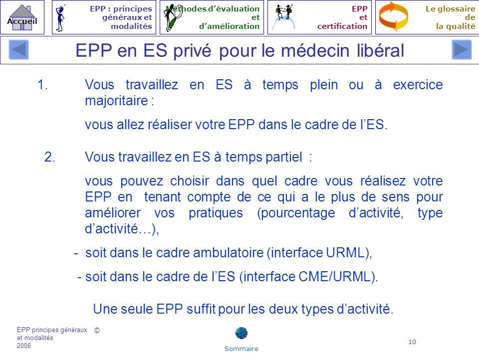 EPP en ES privé pour le médecin libéral