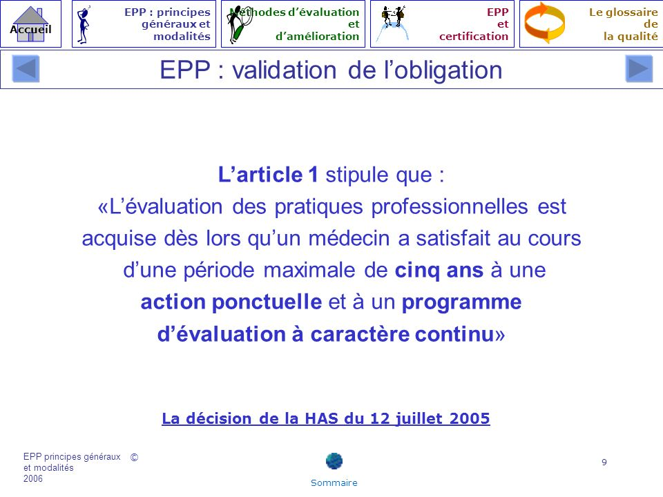 EPP : validation de l'obligation