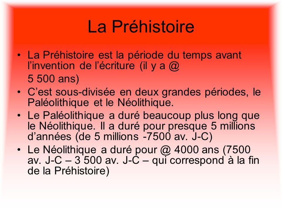 La Préhistoire La Préhistoire est la période du temps avant l'invention de l'écriture (il y a @ 5 500 ans)