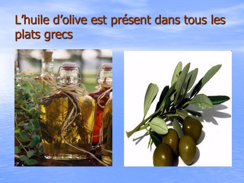 L'huile d'olive est présent dans tous les plats grecs