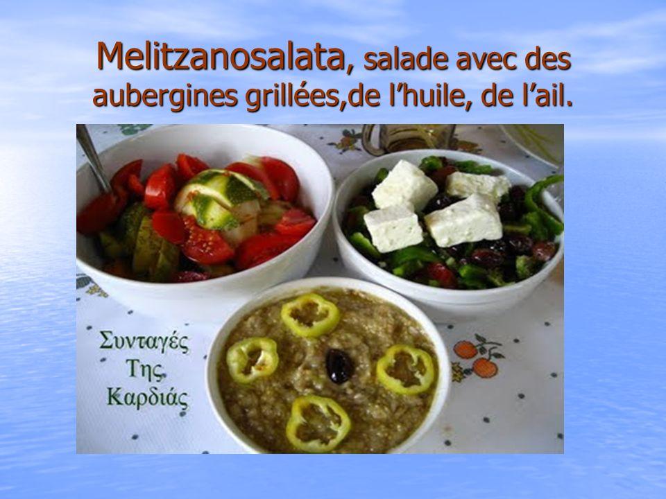 Melitzanosalata, salade avec des aubergines grillées,de l'huile, de l'ail.