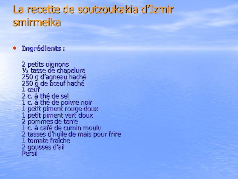 La recette de soutzoukakia d'Izmir smirmeika