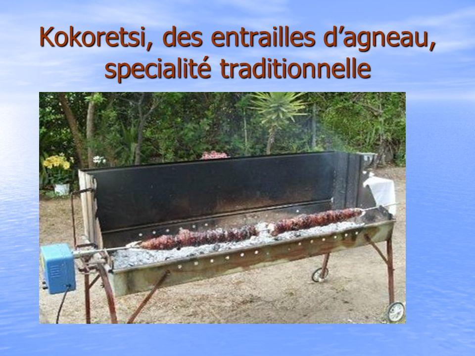 Kokoretsi, des entrailles d'agneau, specialité traditionnelle