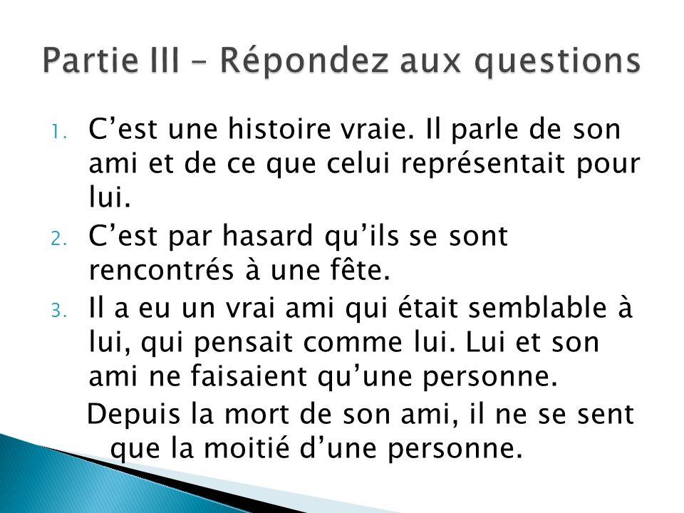 Partie III – Répondez aux questions