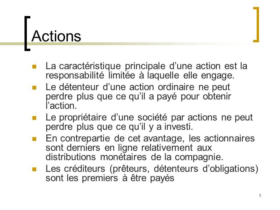 Actions La caractéristique principale d'une action est la responsabilité limitée à laquelle elle engage.