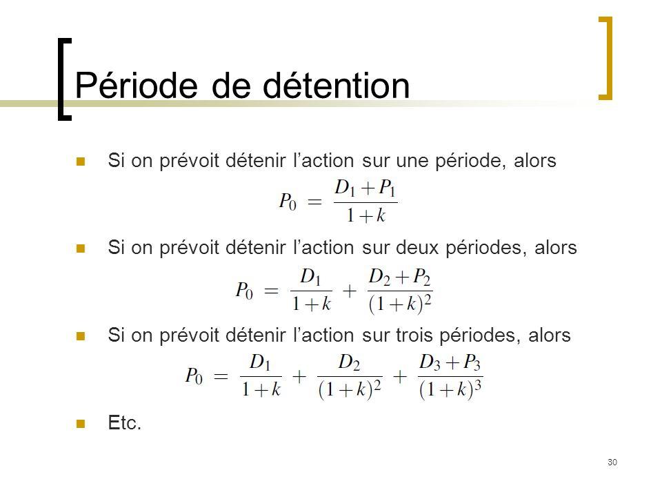 Période de détention Si on prévoit détenir l'action sur une période, alors. Si on prévoit détenir l'action sur deux périodes, alors.